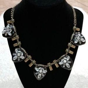 Black, Bronze, Diamond and Green Stone Necklace